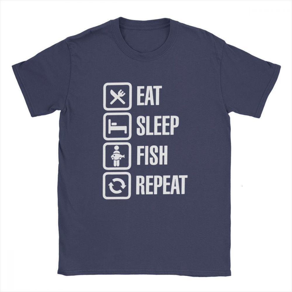 Midnite Star Men Eat Sleep Pesce Repeat T-shirt Bass Fishing Pescatore d'epoca o collo Maglie a manica corta in puro cotone Tee Shirt 4XL