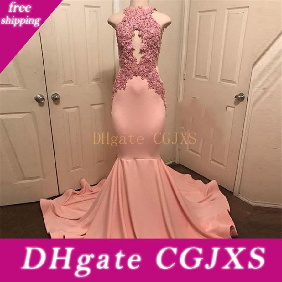 Plus Size Preto do rosa da menina da sereia Prom Vestidos 2019 New Floor Duração mangas Lace Appliqued Beads Formal vestido de festa vestidos de noite