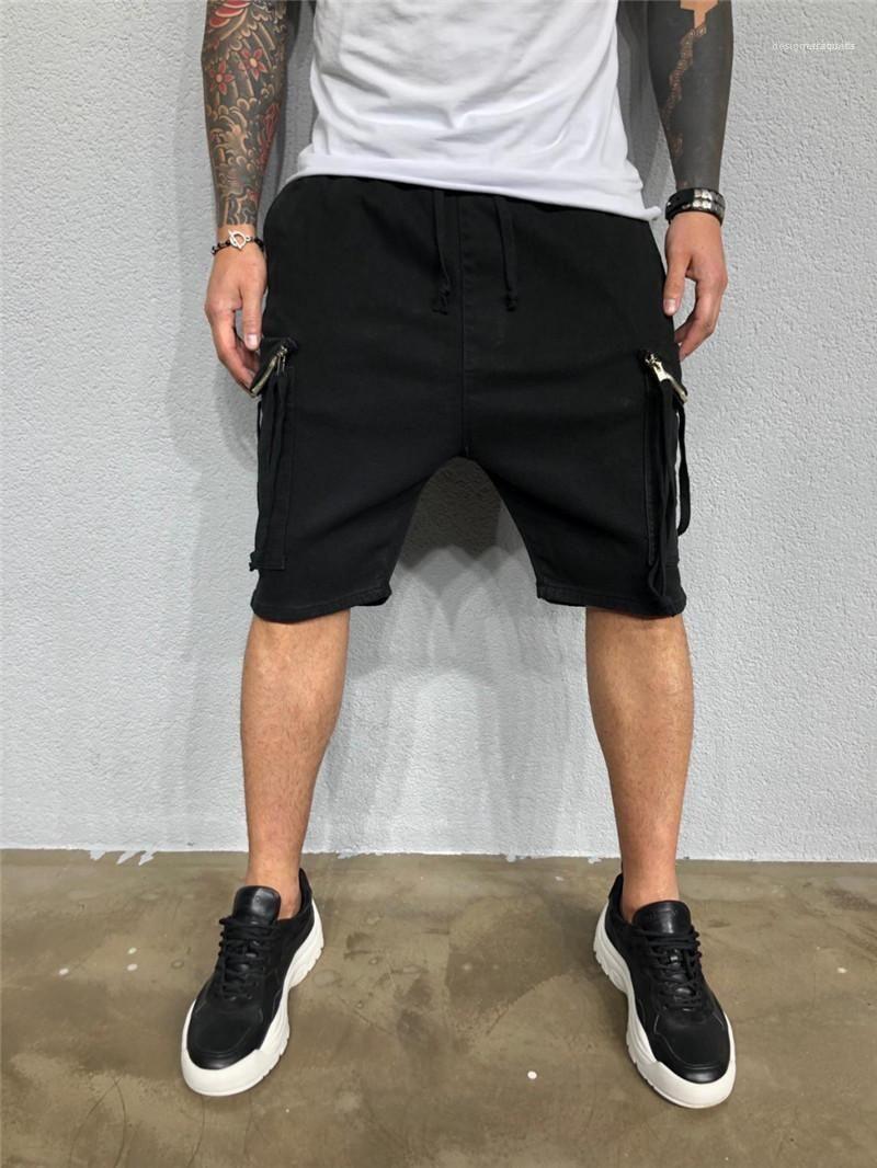 جيوب طول الركبة البضائع السراويل عارضة ملابس رجالي مصمم رجالي الصيف السراويل سروال بيج اللون الصلبة