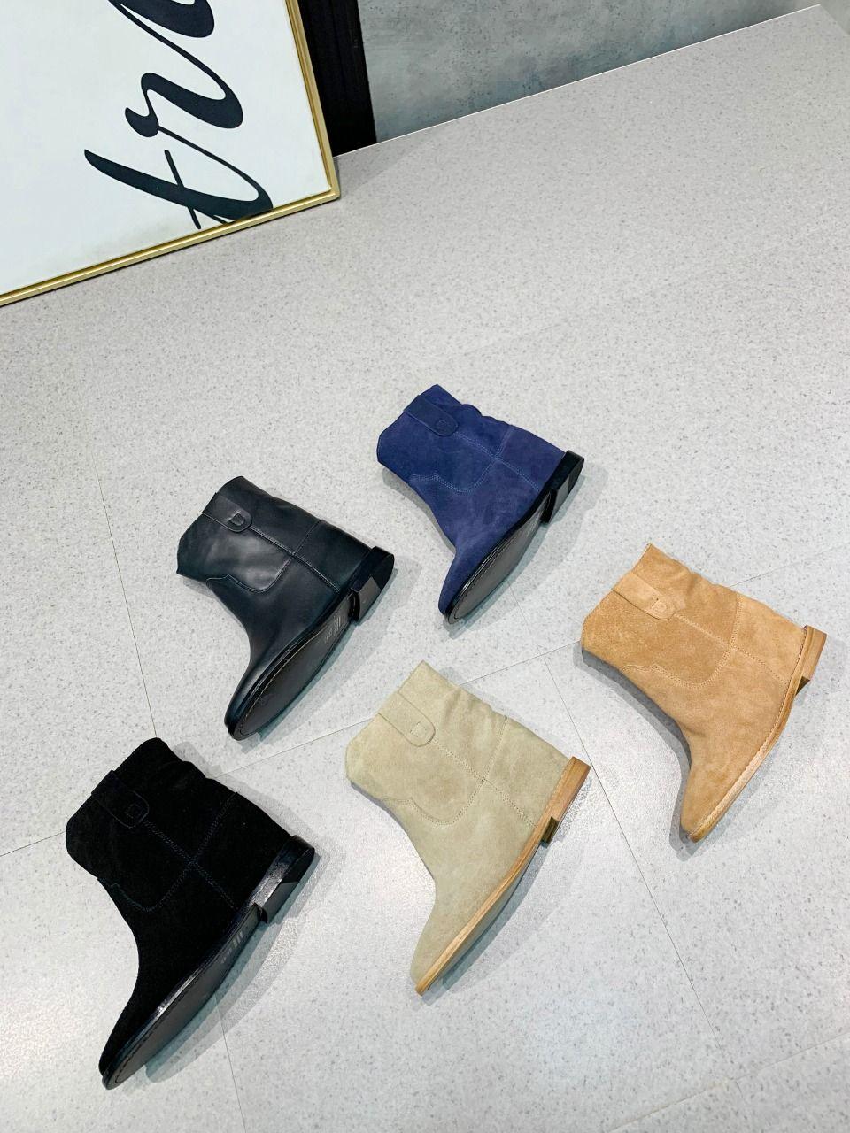 2020 высокого качество весны и осенью женская женская западный стиль обувь замши натуральной кожа Hidden клин пятка лодыжка пинетка тянуть на сапогах