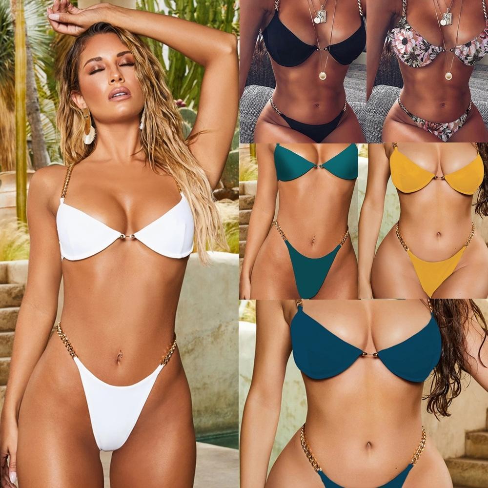 fbYXo 2020 maiô novo desdobramento sexy de biquíni das mulheres com pura maiô cadeia de biquíni 0031