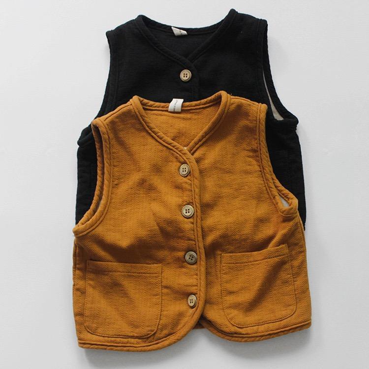 FM INS Дети маленькие девочки Жилет без рукавов белье хлопок ватки кнопки на передней панели Стильная Детская одежда Осень Зима Открытый Одежда