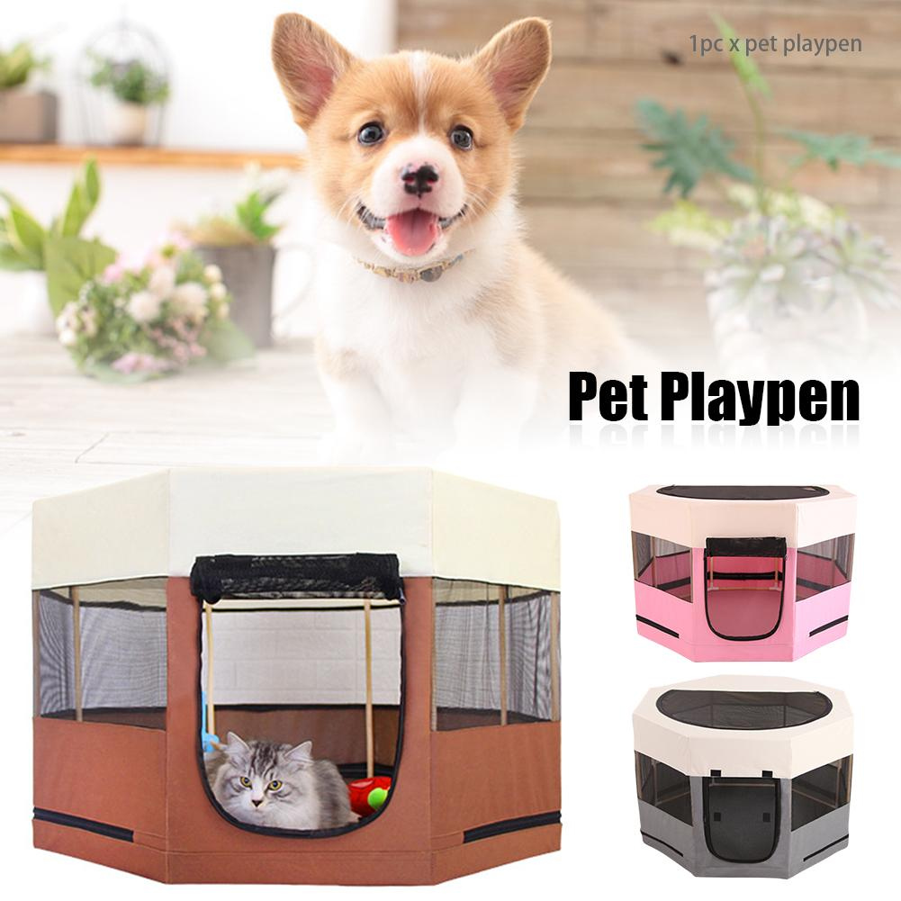 Fence Dogs Cats Yard Oxford Cloth Zippered Portable Foldable Travel Pet Playpen