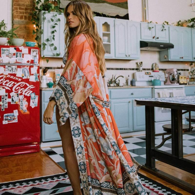 SOUGEN Негабаритные Бич Cover Up Кимоно Урожай Цветочные печати Праздник бикини Выездные Boho Сыпучие Длинный кардиган 2020 Orange Coat