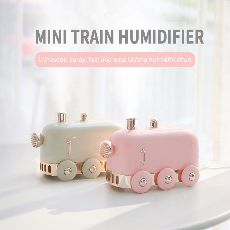 Mini humidificateur train avec nuit USB mini humidificateur allume train Ins rétro pour le bureau de bureau à domicile