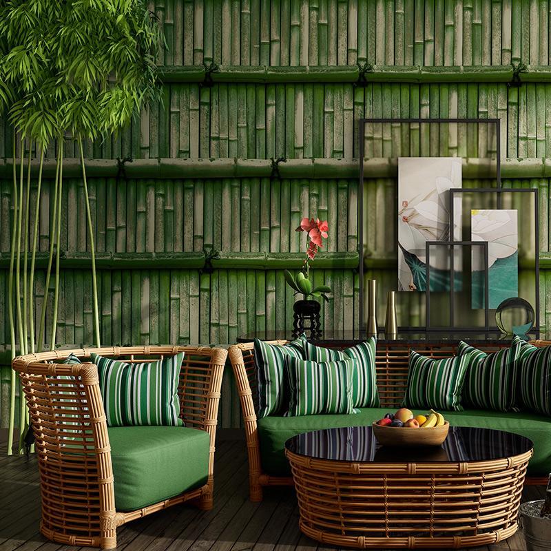 Çin Tarzı Wallpaper Vintage Bambu Arkaplan Duvar Kağıtları Ev Dekorasyonu 3D Salon Tea House Restaurant PVC duvar kağıdı Rulo
