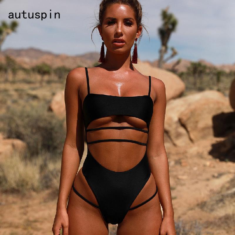 di Autuspin donne costume da bagno cut-out Costumi di un pezzo del bikini sexy Backless Costumi da bagno per donne solide spiaggia nera costumi da bagno