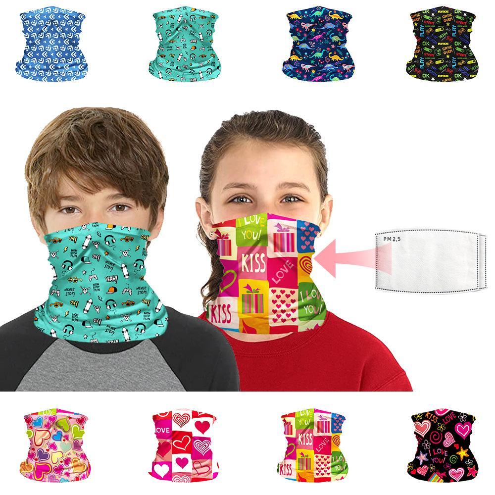 US Stock! Bandana Drukuj Szalik Wielofunkcyjny Neck Geter z filtrem Dzieci Dzieci Kreatywny Cartoon Pałąk Ochrona twarzy Maska FY7143