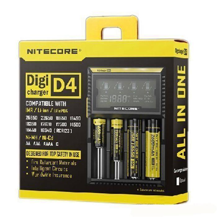 Digi Nite D4 Universal Charger 18650 16340 26650 14500 22650 18490 18350 배터리 Nitecore LCD 디스플레이 배터리 충전기 I4 I2 D2