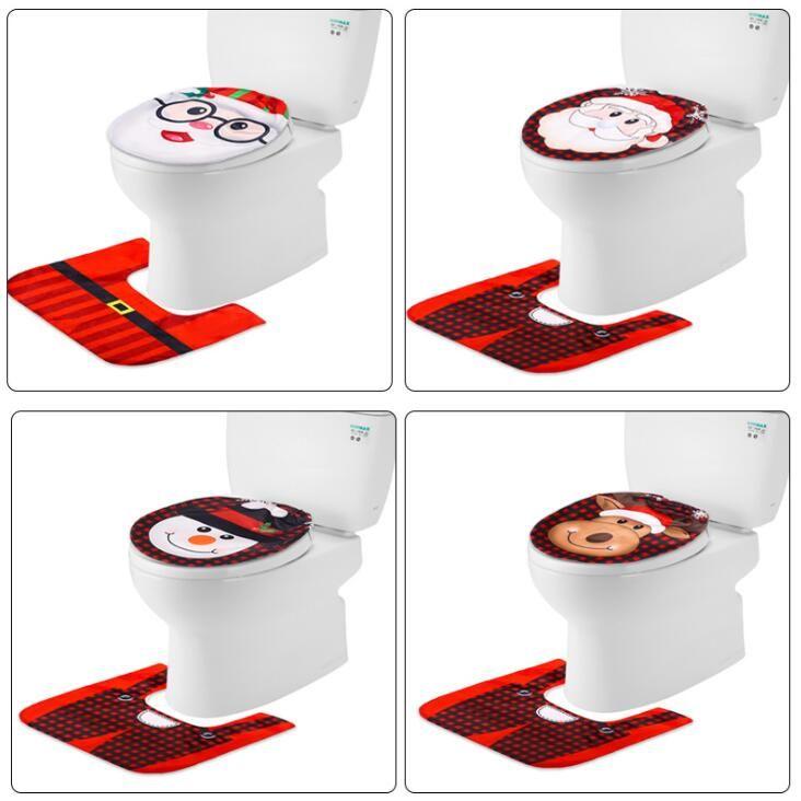 Noel Tuvalet Kapak Noel Banyo Klozet Kapakları Kardan Adam Noel Baba Tuvalet Çıtası Banyo Süsler Malzemeleri OWD845