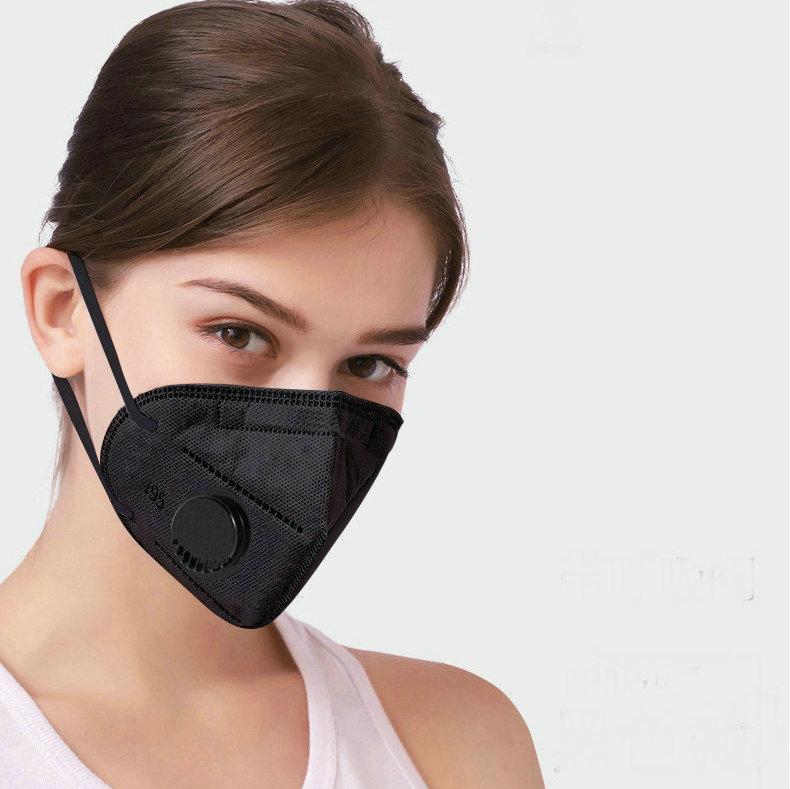 В НАЛИЧИИ!! KN95 Mask Factory Supply 95% фильтр Черная маска Активированный углеродный дыхательный респиратор клапан 6 слой дизайнер для лица маска для лица