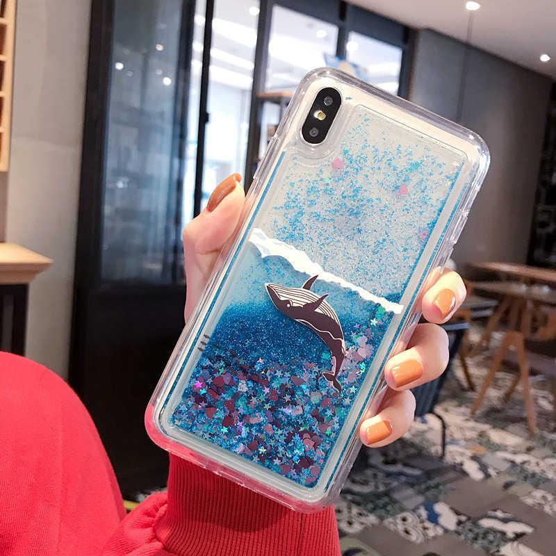 Copertura 100PCS nuova Bling Quicksand Blu Squalo balena di scintillio per l'iphone X XR XS 6S 6 7 8 Inoltre 7plus 8plus 11 Pro Max 11Pro SE 2020 Telefono Caso