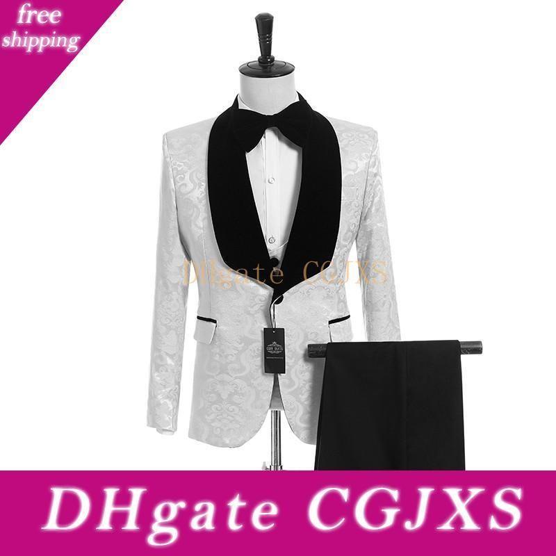 Padrão New Style Groomsmen Branco Noivo Smoking Xaile Velvet lapela Men Suits Side Ventilação casamento / Prom melhor homem (Calças Jacket Vest Tie) K948