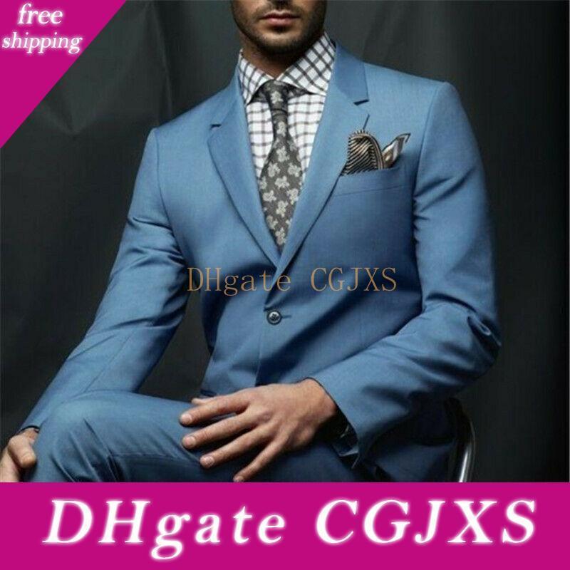 Yaz Damat Düğün Ofisi Blazer Ceket Dış Mens Slim Fit İki Düğme Biçimsel Çalışma Balo Suits (Ceket Pantolon)