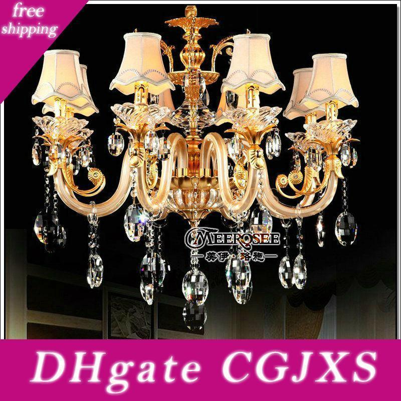 Europeu de Ouro candelabro de cristal com 8 Vidro Braços Cristal Lustres de viver com Tecido Lampshades Md88006 frete grátis