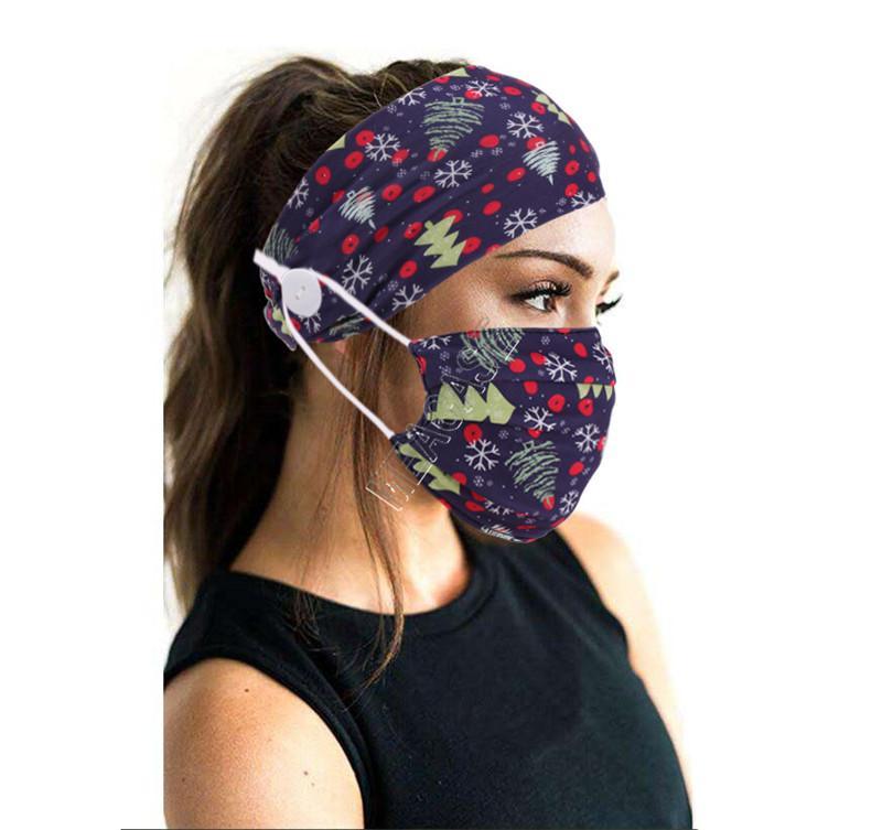 Düğme Moda Face ile 2020 Tasarımcılar Maskeler Tutucu Bantlar Noel ağacı Kadınlar Spor Yoga Elastik Saç Bandı 2pcs yazdır Maske / set D9207