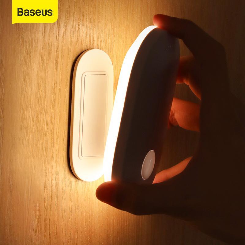 Baseus التعريفي مصباح الليل بير استشعار الحركة الخفيفة ليلة الإنسان الحث المغناطيسي الجسم بقيادة مصباح القابلة لإعادة الشحن في الأماكن المغلقة الجدار الخفيفة