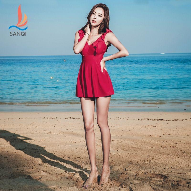 OIizZ 6BPZA Sanqi conservador vestido de uma peça vestido swimsuit barriga primavera quente das mulheres cobrindo peito grande reunindo pequena estudante de tamanho
