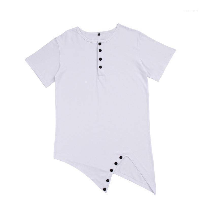 T-shirts Verão Sólidos Manga Curta Tops Designer Tees Mens Irregular