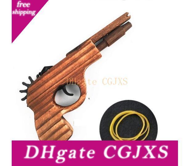 جديد وصول الأطفال ألعاب خشبية لعبة بندقية الكلاسيكية اللعب المطاطي لعبة مسدس مسدسات مثيرة للاهتمام للأطفال البنادق لعب
