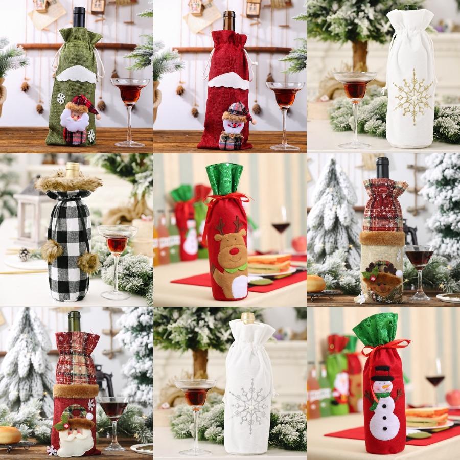 Bottiglia di vino rosso di Natale Borsa elastico lavorato a maglia in poliestere Decorazioni di Natale di vino Bottiglie Borse Cartoon Santa bottiglie di immagazzinaggio del sacchetto BH0222 # 204