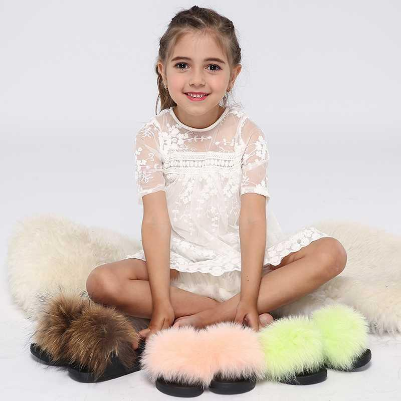 Enfants Fourrure Slide Maison d'été Pantoufles Fluffy Kids Chaussures pour filles Sandales à fourrure Accueil Véritable Fourrure Flip Flops en gros Dropshipping