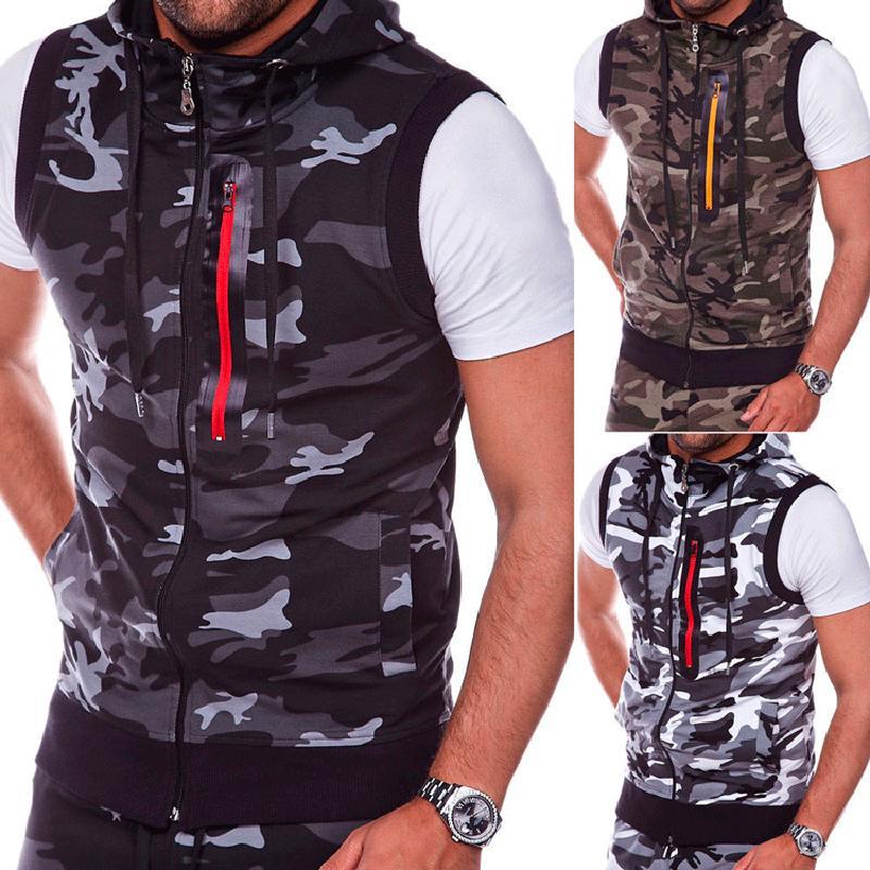 2020 лето новые моды рукавов Tee Shirt Повседневная жилет топы с капюшоном майка Мужчины Tanktop Бодибилдинг Фитнес Одежда MX200815