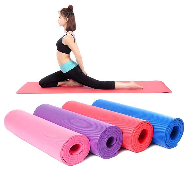 10 mm d'épaisseur 1830 * 610mm tapis de yoga Fitness exercice Insipide Sac de sport de sport Tapis de haute qualité Yoga anti-dérapant Tapis pour débutants