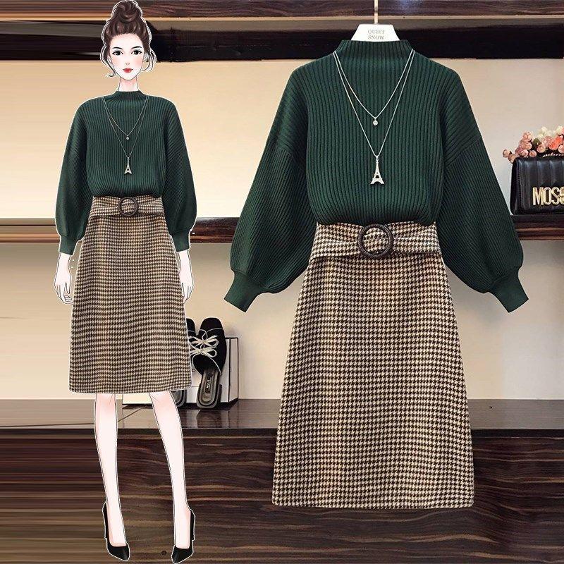 kadınlar iki parça setleri örme sweates ve etekler ince giysiler üniversite öğrencileri sonbahar / ilkbahar bayan giyim setleri