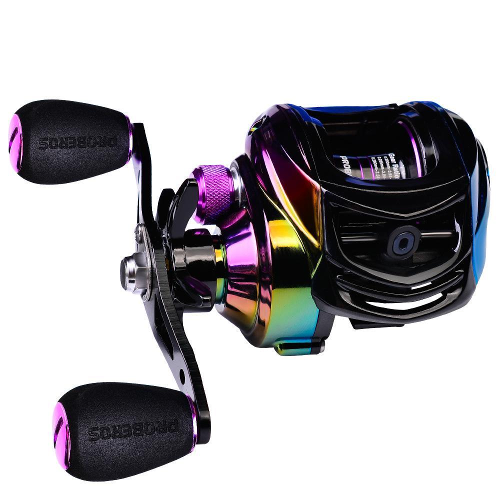 New quente colorido 18 +1 BB Pesca Reel carbono Shell Leve 213 g Max Arraste 10KG Baitcasting Reel Fundição Reel roda de pesca