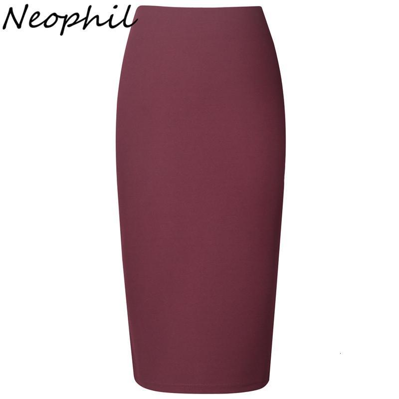 Neophil 2020 señoras atractivas del verano de la gasa faldas del lápiz Midi alta cintura del estiramiento delgado desgaste rosa Bla Trabajo Oficina ocasional Saia S0311