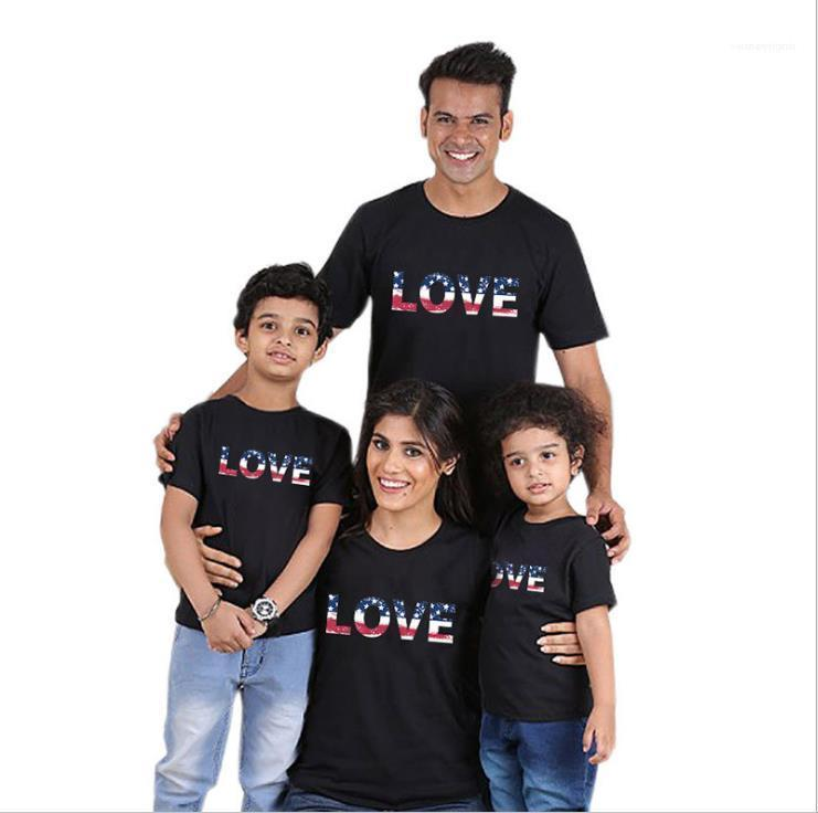 Criança Tops independência American Family Day T-shirts Verão Designer Love Letter Imprimir Crew Neck manga curta Tees Mulheres Mans Parent