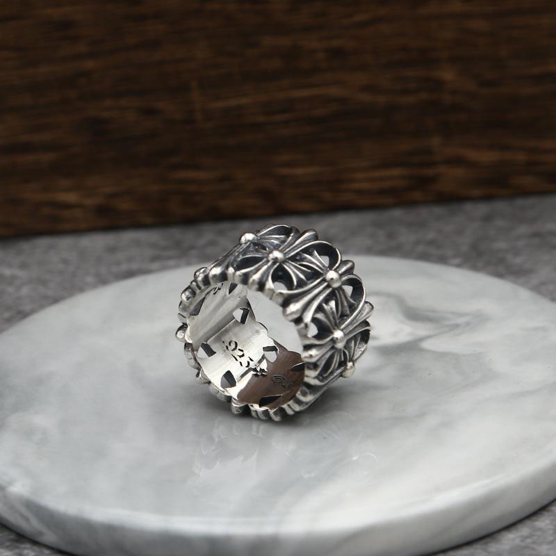 Commercio all'ingrosso S925 Sterling Silver ornamento stella Uomini e Donne Celebrity Ispirato Indice Argento Thai barretta dell'annata anello di modo trasversale
