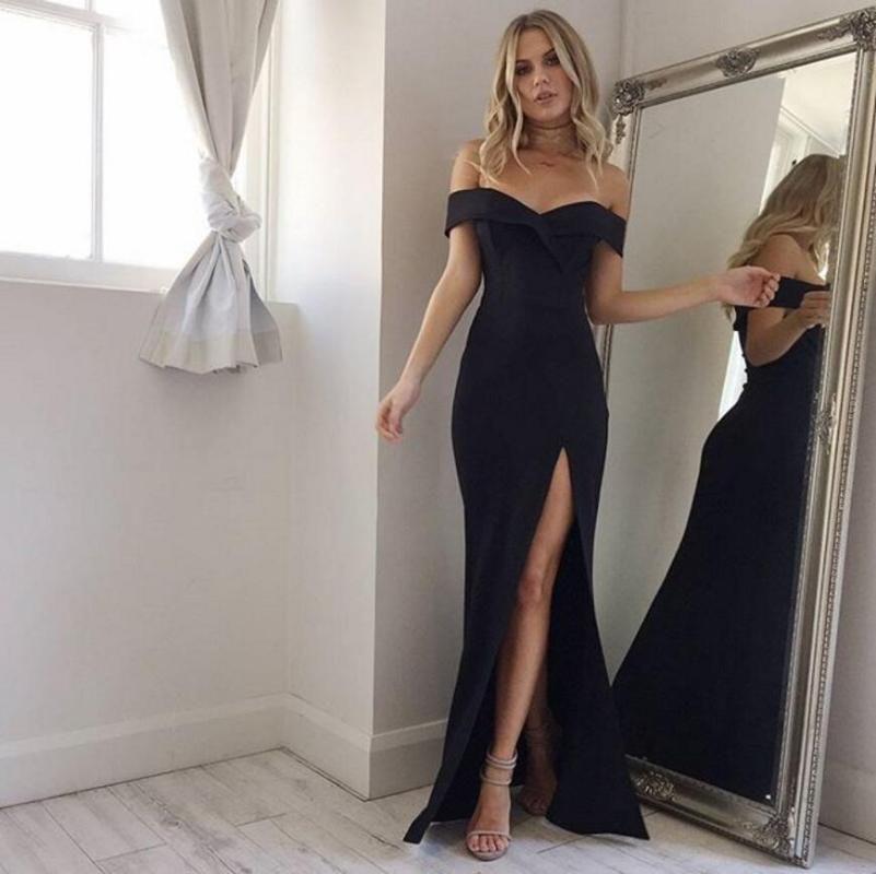 Sommer-neue Ankunft weg von der Schulter reizvolles schwarzes Rosa Kleid 2020 Sexy Split Die Gabel-Kleid Frauen-elegante Slash Neck lange Vestido