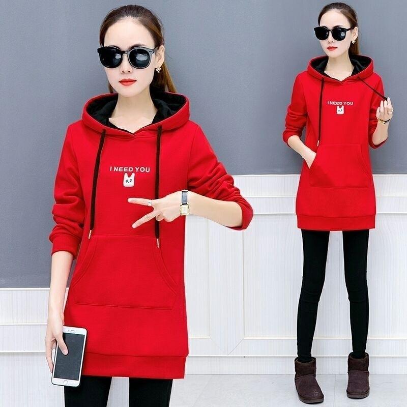 Herbst und Winter der neuen Frauen der Kleidung der koreanischen Art verdickte Mitte Länge Top SweaterCoat sweatercoat Fleece Pullover mit Kapuze Pullover weibliche s