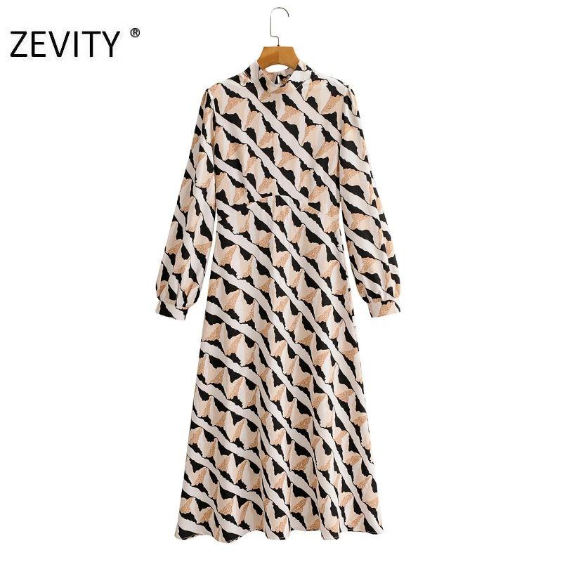 las mujeres ZEVITY el collar del soporte de la vendimia impresión de la pintada trasero de la cremallera midi señora de la oficina del vestido vestido de otoño vestidos elegantes negocios DS4423