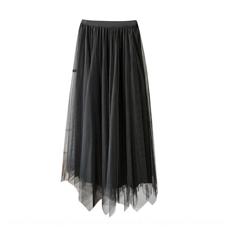 velluto di kzvGN donne pieghe con due lati autunno e l'inverno di lunghezza media vita alta irregolare maglia gonna gonna lato