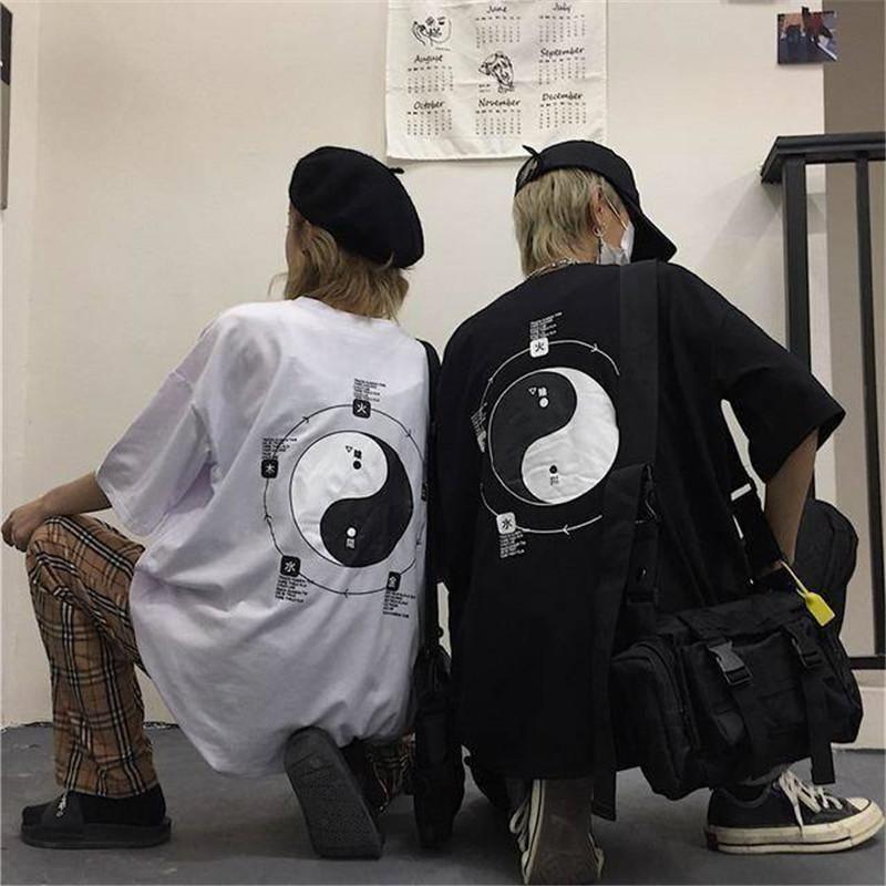 Hip Hop Gevşek Oversize Tee Gömlek Erkekler Kore Harajuku BF Baskılı T Shirt Erkekler Kadınlar Yaz InsCasual Tişört Streetwear Erkekler CY200514