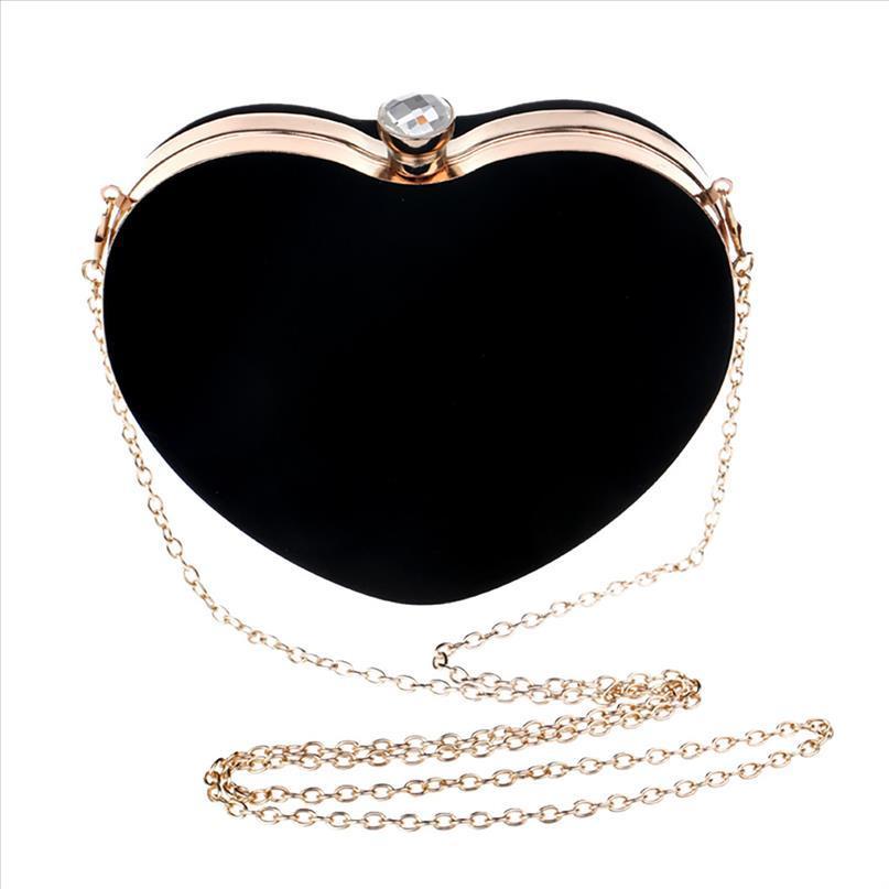 Spalla della traversa del cuore Borse donne a forma di cuore partito sera borsa frizione borsa coreana a forma di spalla Bag Croce Mujer May22