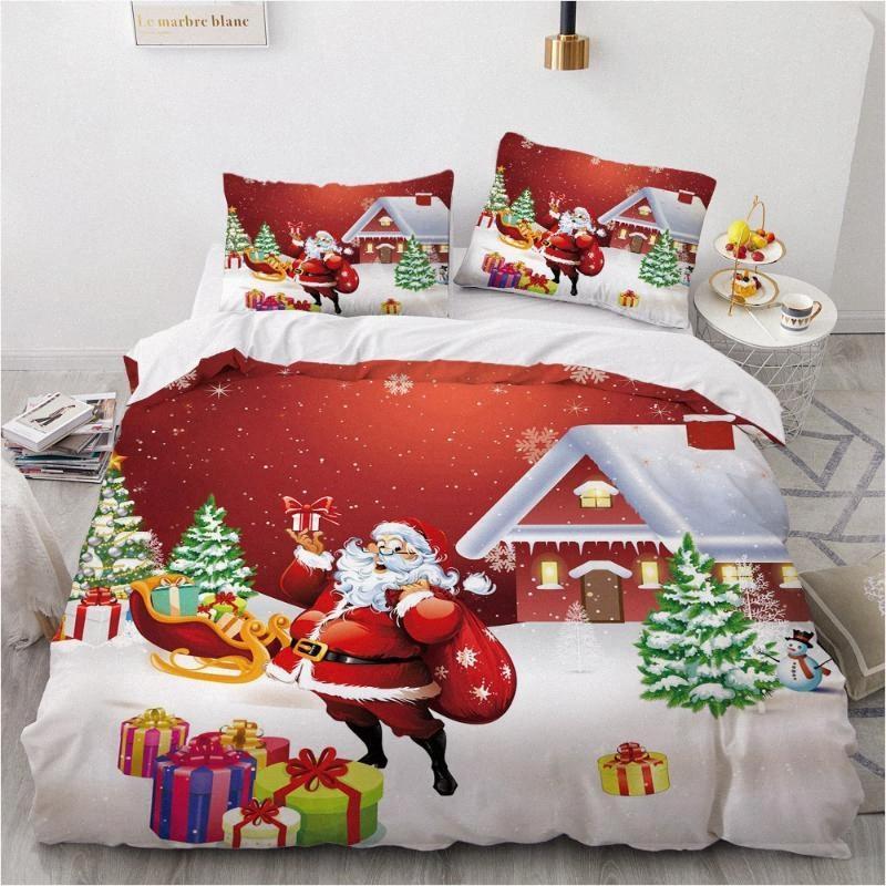 Natal Design 3D Consolador Caso edredon Quilt Set cama capa Single King Double Queen standard Tamanho Home Textile wSoX #