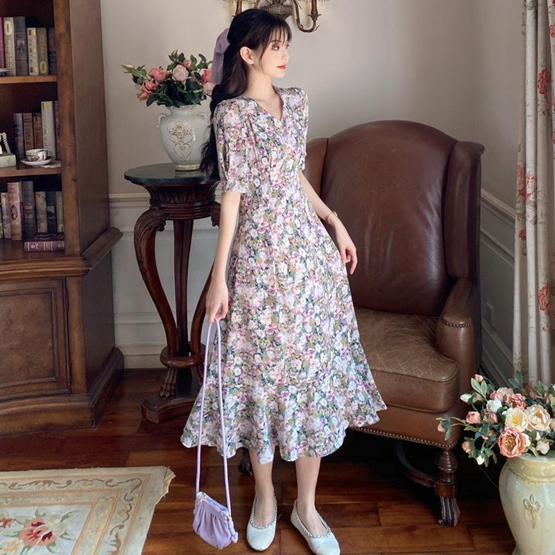 grasa MM ropa de vestir verano de la cintura de las mujeres de gran tamaño de adelgazamiento vestido suelto de flores de gasa