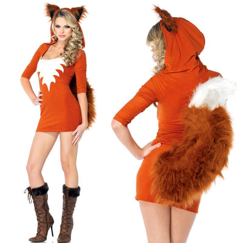 Venta al por mayor uniforme atractivo de Halloween Animal traje atractivo Fox del equipo del traje de Halloween Fantasía Dr. partido de Cosplay de la tentación