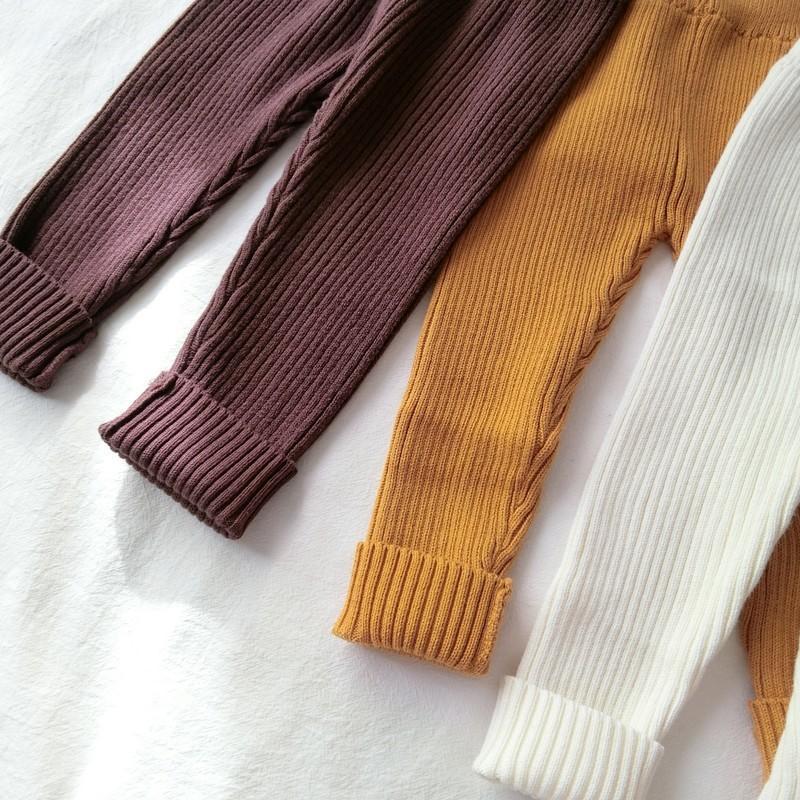 Nuevo bebé que hacen punto de pantalones de la muchacha del niño de los pantalones de las polainas de invierno caliente para niños Niños Pantalones Armarios acanalado ropa de bebé LJ200812