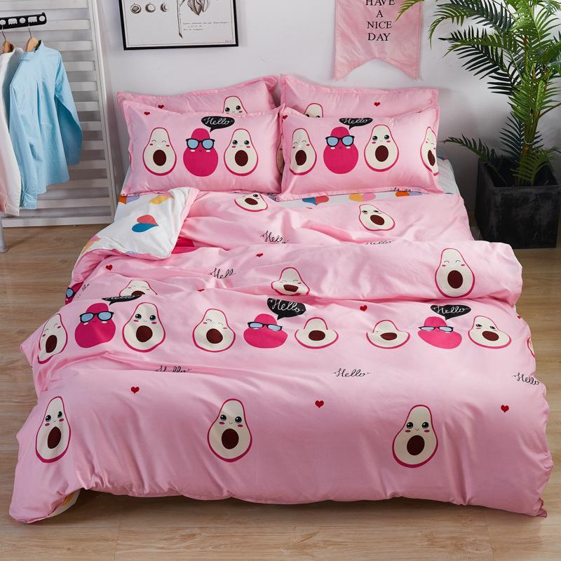 Rosa Avocado-Frucht gedruckte Karikatur Bettdecke Set Bettbezug Erwachsene Kinderbett Bettwäsche und Kissenbezüge Tröster Bettwäsche-Set 61037