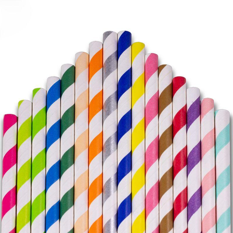 Einweg Umweltschutz Papier Stroh Kreative Dekoration Papier Lange Stroh Getränke Strohhalme SFLGE