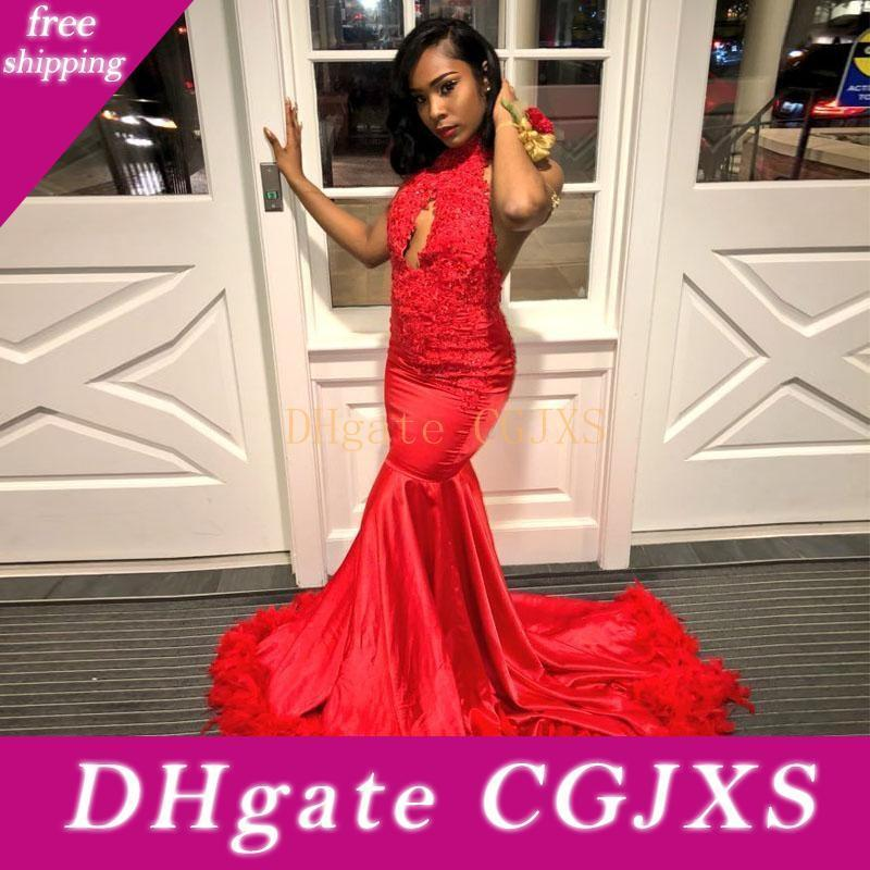 2019 Stunning Red Backless Feder Abendkleider Halter SpitzeAppliques Korn Sequin Afrika Abendkleid Sweep Zug Taft-Partei-Kleid