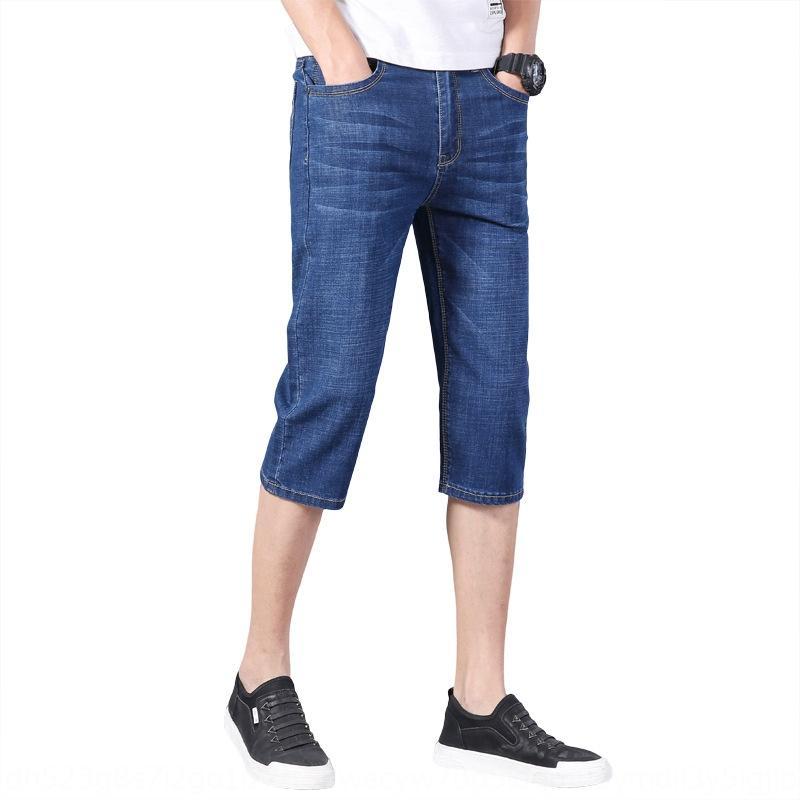 5laHv Estate sottile pantaloncini casuale degli uomini ritagliate Nove denim nona moda rette calzoni ritagliate nove uomini pantaloni tutto-fiammifero sottile pantaloni casual