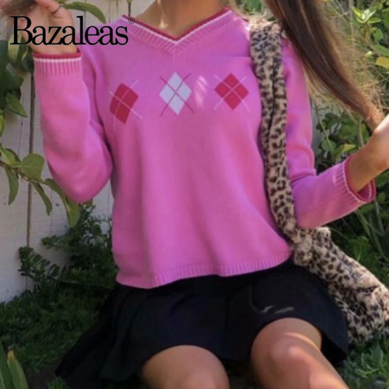 Maglioni da donna BAZALEAS Streetwear Donne Maglione Punk V Collo a V Tiro Femme Pullover Moda rosa rosa Casual Tartan Tartan lavorato a maglia