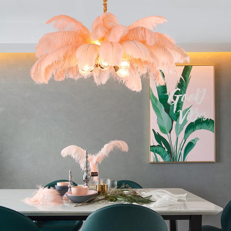 Nordic Light Luxury Креативный Одежда Ctore G9 Все Медь LED Люстра Romantic Princess Bedroom перо страуса висячие лампы