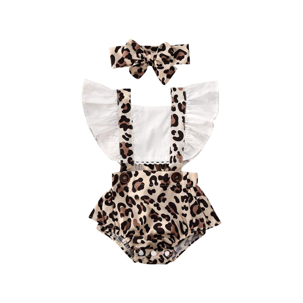 alta qualidade 2PCS infantil do bebé do leopardo Romper Macacão Roupa roupas de verão 0-24M